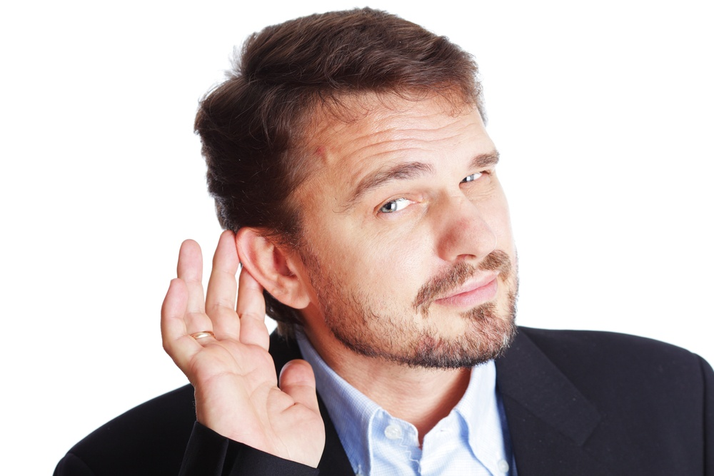 Business man listening